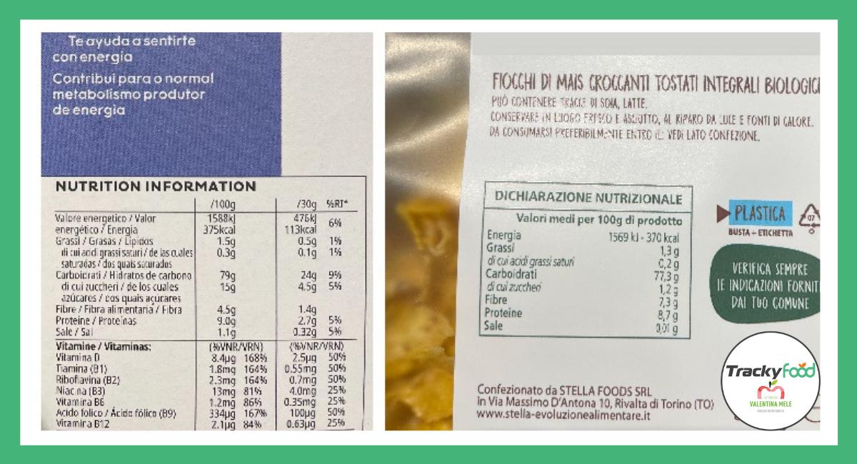etichette nutrizionali dei cereali a confronto